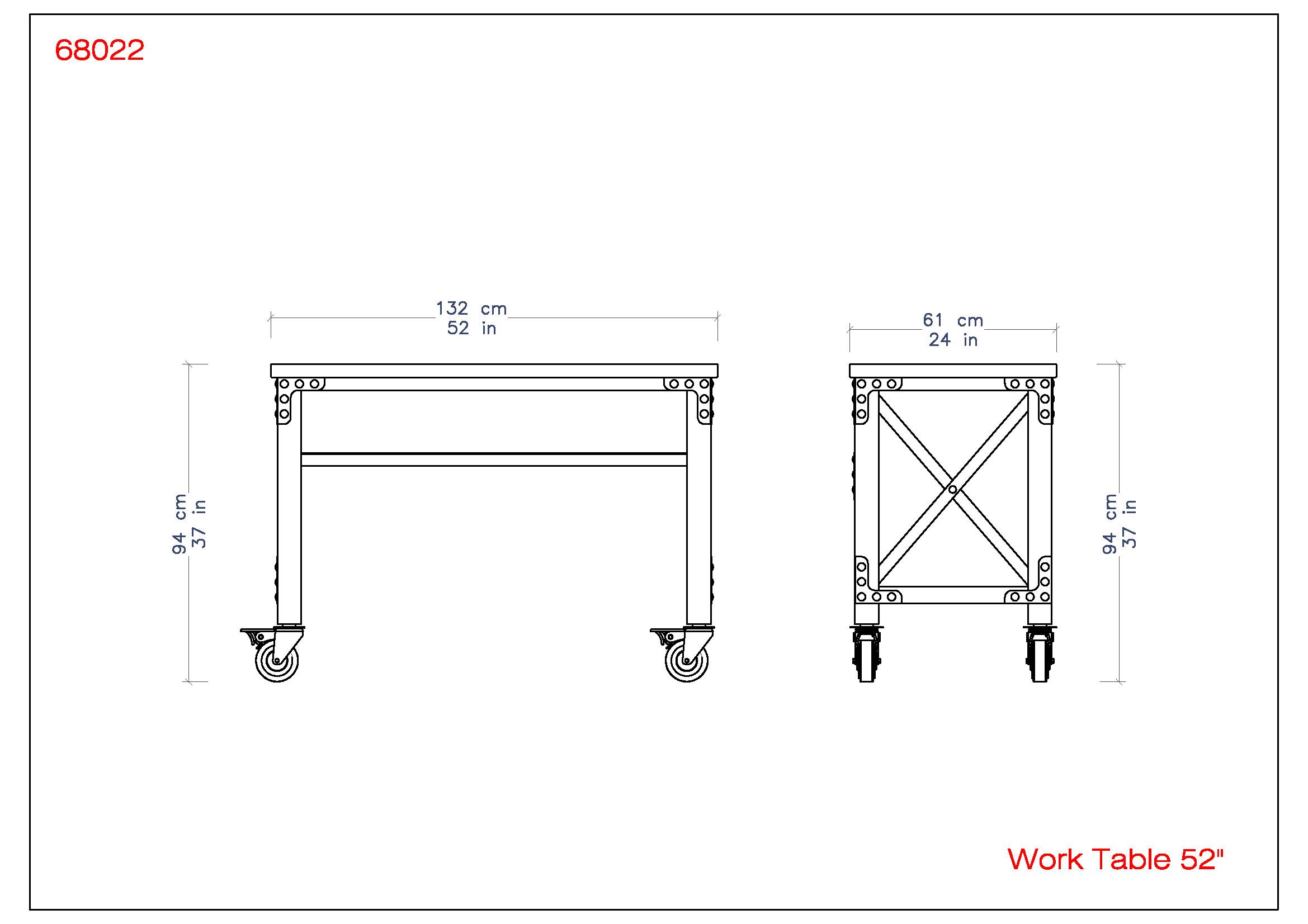 Rolling Worktable 52″ x 24″