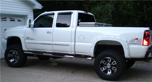 white truck with black wheels   Chevy and GMC Duramax