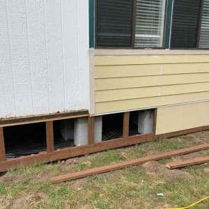 Wood Skirting For Mobiles - DURASKIRT™ for Life! on a mobile home floor, a mobile home siding, a mobile home kitchen,