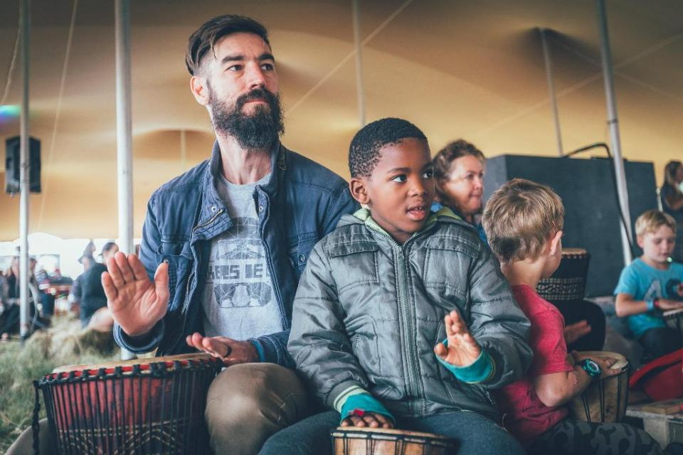 The Drumshack Experience takes place every morning at the Acoustic Stage and fans of all ages get involved. Photo Dane Foreman