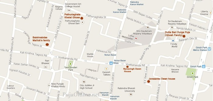 bonedi bari durga puja location map