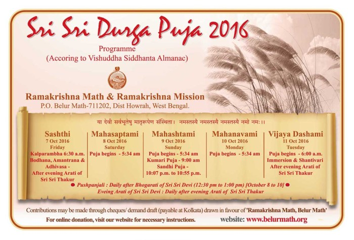 belur math durga puja timing 2016
