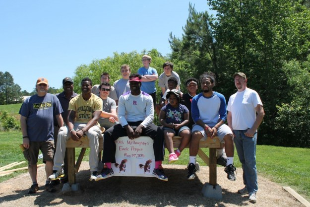 Fellow scouts, classmates, and family members came out to help Marcus Willoughby complete his Eagle Scout project.