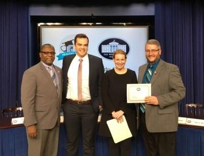 Greg Bellamy, Dean of College and Career Readiness at Durham Tech; Scott Edmonds, Program Manager from MDC; Kristie Canegallo, Assistant to the President & Deputy Chief of Staff for Implementation; Gilbert Umberger, Student Activities Coordinator at Durham Tech.