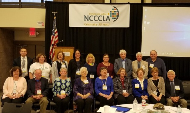 Past presidents of NCCCLA, Barbara Baker is seated on first row, fifth from left.