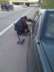 Changing a Flat Tire in Durham