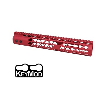 """12"""" AIR LITE KEYMOD FREE FLOATING HANDGUARD WITH MONOLITHIC TOP RAIL (RED)"""
