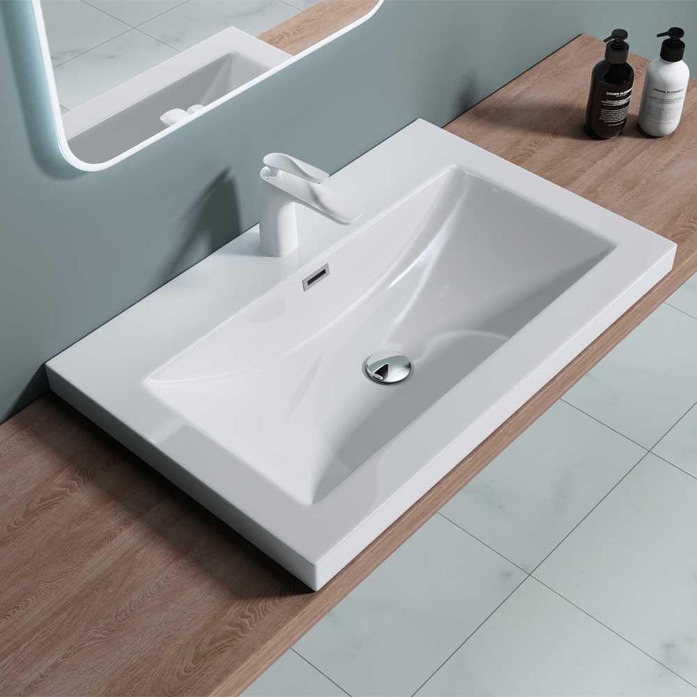semi recessed rectangular stone resin bathroom basin 765 x 480 x 130mm colossum 1 765mm