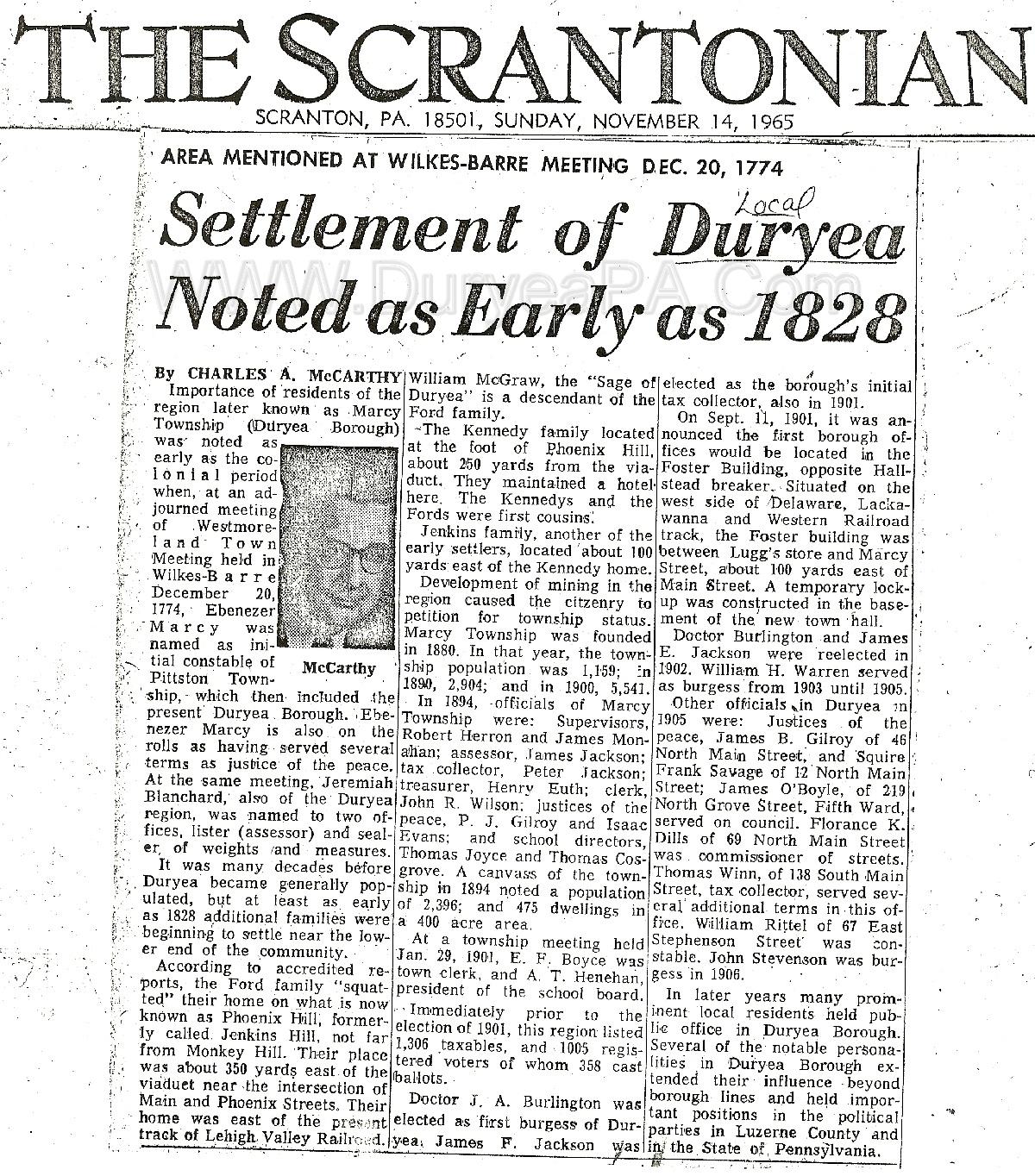 Duryea Pennsylvania Historical Homepage Pre1900s Contents