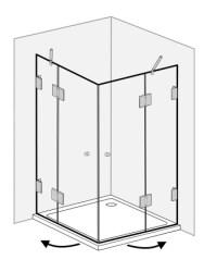 Eck-Dusche mit 2 Tren, Duschkabine mit Duschwanne ...