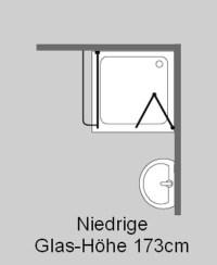 Eck Falt-Dusche mit Festwand, Klarglas, Chrom, H=173cm ...