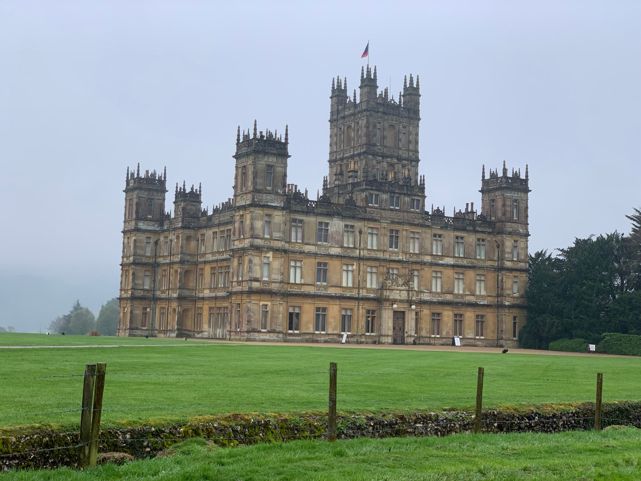 Highclere Castle on a cloudy day