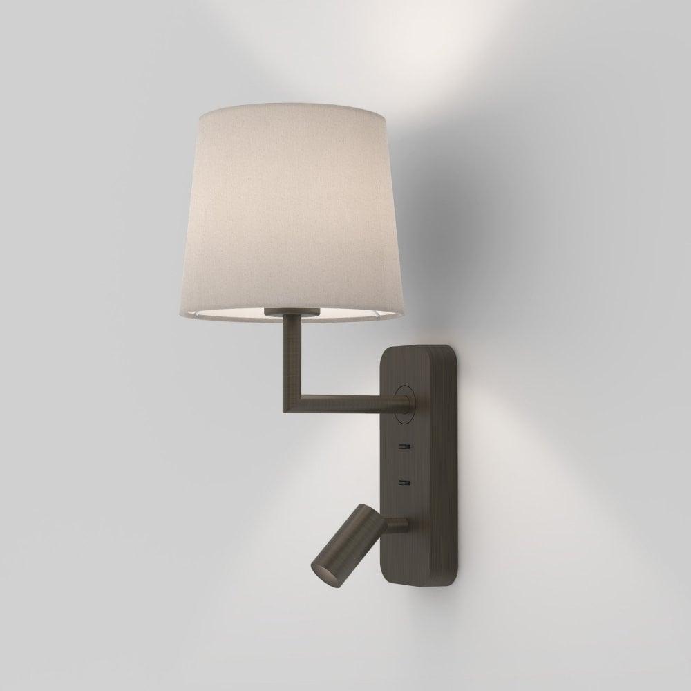 Astro 1406004 Side By Side 3 In 1 Bedside Wall Light In Bronze