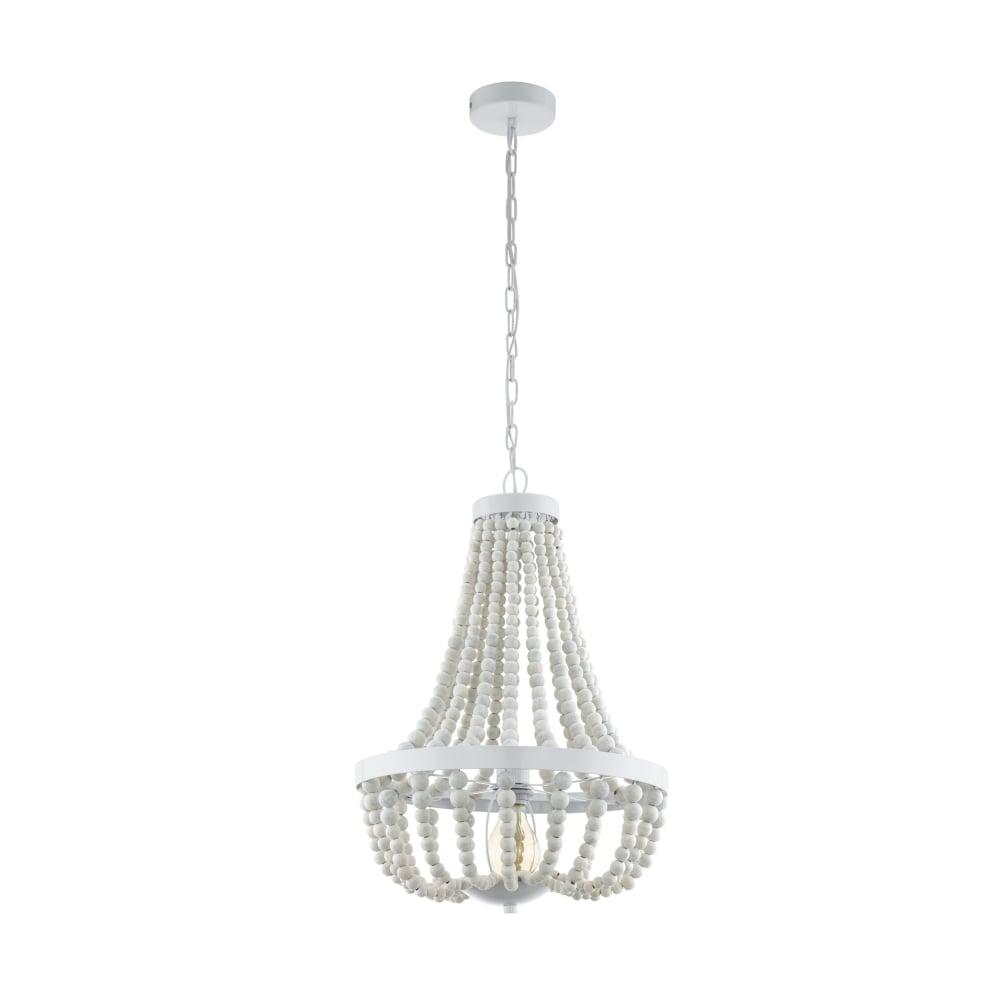 Eglo 49607 Barrhill White Beaded Chandelier Style Pendant