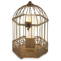 Eglo 49287 Harling Rusty Bird Cage Lantern Style Table Lamp