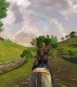 My RK, Cendamiel riding through Hobbiton, stopped to take a look at a breath taking rainbow over the Shire.