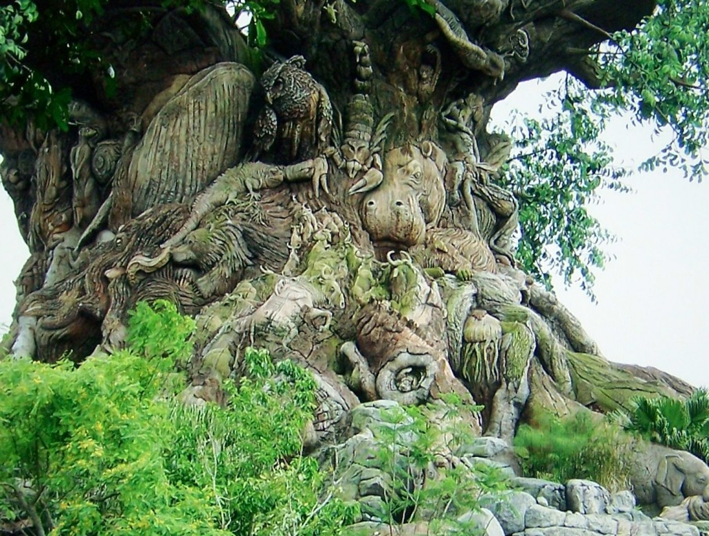 trees, carvings