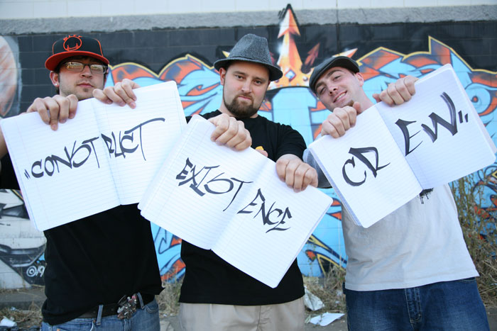 Construct Existence Crew from left to right: DJ Maddhatter, Dust9 and Cyph4