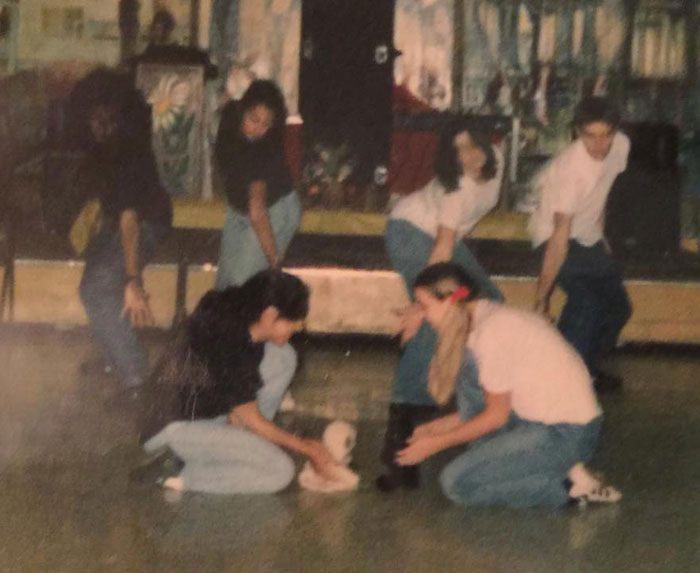 """The Sacramento Baha'i Youth Workshop performing the """"Racism Dance"""" in which two kids of different ethnicities are playing while their parents prepare to tear them apart. I'm the """"white"""" parent on the far right."""