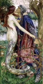 Woman with snake body entangles a knight as she kisses him.