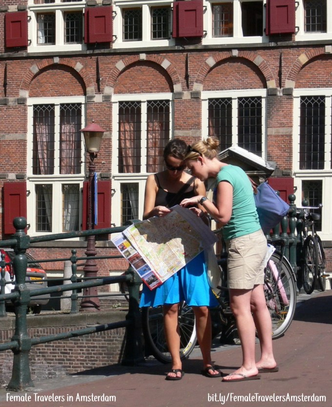 female tourists in amsterdam
