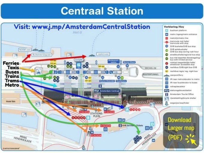 map of amsterdam central station