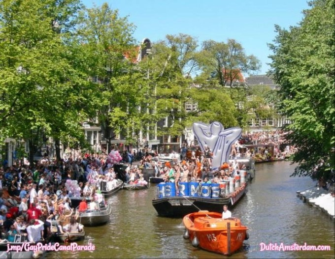 gay canal parade in Amsterdam