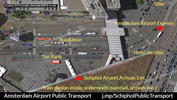Amsterdam Schiphol airport public transport map