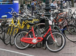 illegally parked tourist bikes in Amsterdam