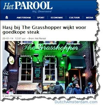 Local daily Het Parool reports on the demise of the Grasshopper's coffeeshop