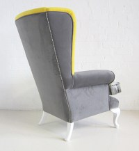 Victorian High Back Wing Chair / Fully Upholstered High