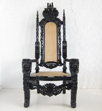 Large Throne Chair / Lion King Chair Black / Dutch Connection