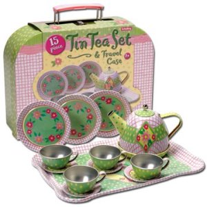CHILDRENS TIN TEA SET IN CASE