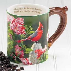 Cardinal Sculpted Coffee Mug with Devotional Verse