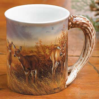 Meadow Mist – Whitetail Deer Sculpted Coffee Mug