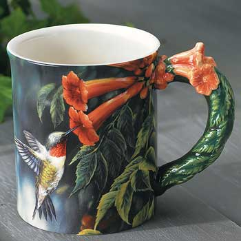 Summer – Ruby-throated Hummingbird Sculpted Coffee Mug