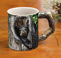 Cubby Hole Black Bear Sculpted Coffee Mug