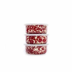 Burgundy Splatter 3-Piece Storage Bowl Set