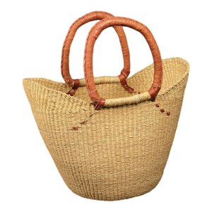 Natural Shopping Tote with Leather Handle