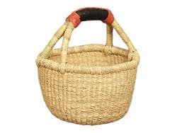 Natural Mini Basket with Leather Handle