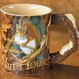 This Place is a Nut House – Squirrel Scupted Coffee Mug