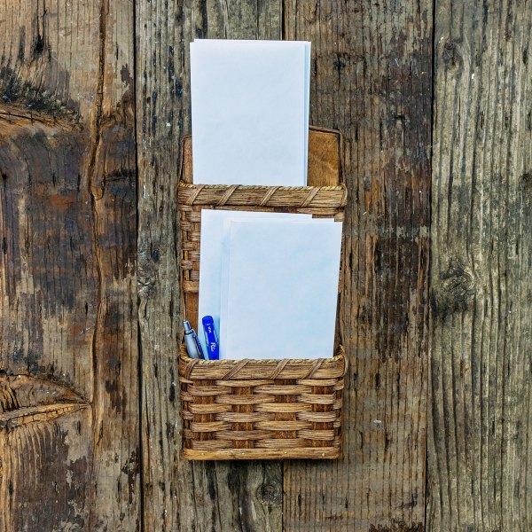 2 Pocket Mail Basket Brown