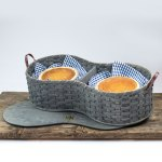 4 Pie Basket with Tray Gray