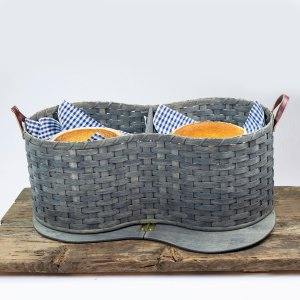 6 Pie Basket with Tray Gray
