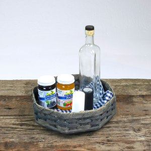8 Corner Lazy Susan Basket Gray