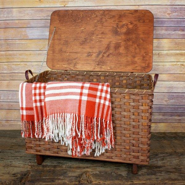 Medium Blanket Basket Lid Brown