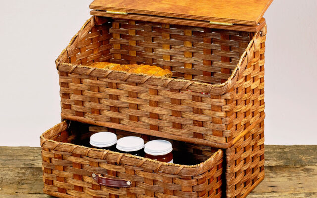 Large Bread Basket with Drawer Brown