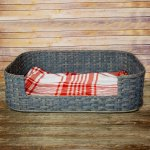 Large Dog Bed Basket Gray
