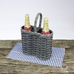 Double Wine Basket Gray
