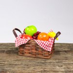 Medium Fruit Basket with Leather Handle Brown